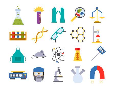 Lab vector chemische test medisch laboratorium wetenschappelijke biologie wetenschap chemie pictogrammen illustratie.