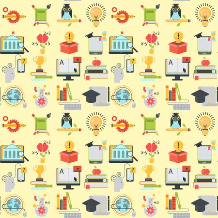 Apprendimento a distanza senza cuciture sfondo istruzione online video tutorial formazione personale negozio apprendimento ricerca conoscenza illustrazione vettoriale.