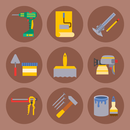 Construction vector worker equipment house renovation handyman tools carpentry industry illustration.