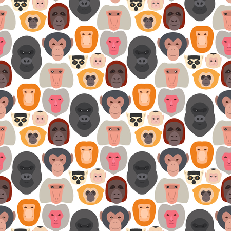 Monkey character animal breads seamless pattern background wild zoo ape chimpanzee vector illustration. Ilustração