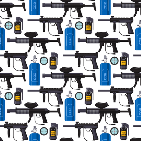 Paintball club protection gun sport game seamless pattern background design equipment target vector illustration