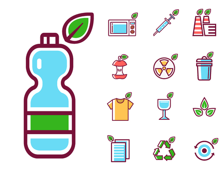Waste rubbish vector pollution ecology recycling set outline eco energy concept garbage disposal trash illustration Illustration