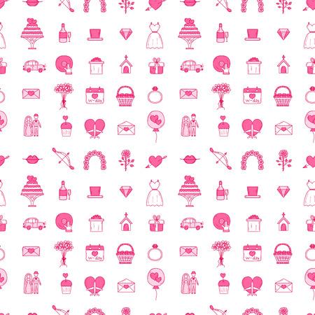 Wedding outline married engagement seamless pattern background vector illustration. Illustration