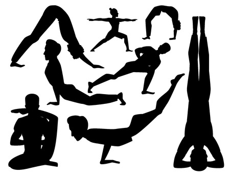Yoga positions mans characters class meditation male concentration human peace lifestyle vector illustration. 일러스트
