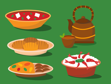 Chinese cuisine tradition food dish delicious asia dinner meal china lunch cooked vector illustration Standard-Bild - 102672380