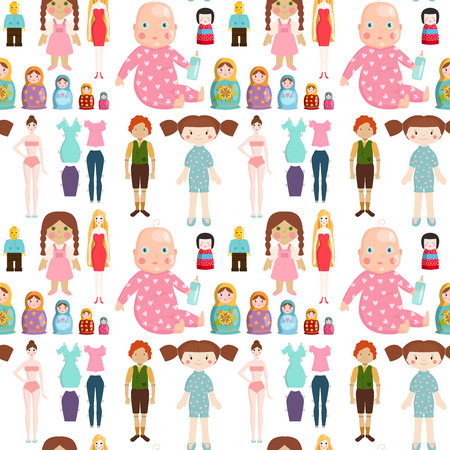 Dolls toy character game dress and farm scarecrow rag-doll seamless pattern background vector illustration Illustration