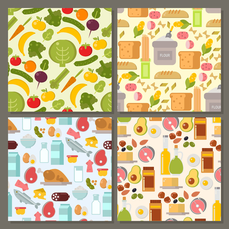 Everyday food common goods organic products seamless pattern background shopping in supermarket vector illustration. Иллюстрация