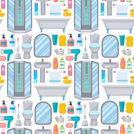Bath equipment toilet bowl clean bathroom flat style illustration hygiene design seamless pattern background.