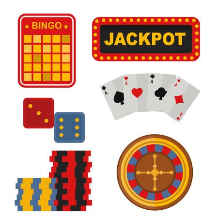 Casino icons set with roulette gambler joker slot machine poker game vector illustration. Illustration