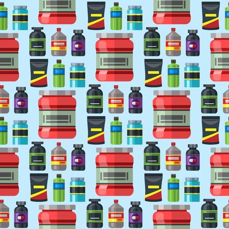 Bodybuilders gym athlete sport food diet seamless pattern background fitness nutrition protein powder drink vector illustration. Illusztráció