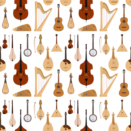 Instruments de musique rêvés à cordes orchestre classique art outil sonore symphonie acoustique transparente motif fond matériel en bois illustration vectorielle