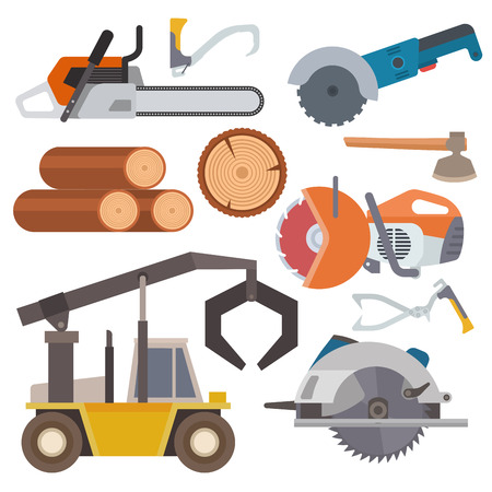 Sawmill woodcutter tools logging equipment lumber machine industrial wood timber forest vector illustration. Stock fotó - 102724284