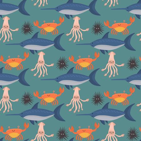 Sea animals vector creatures characters cartoon ocean wildlife marine underwater aquarium life water graphic aquatic tropical beasts seamless pattern background illustration.