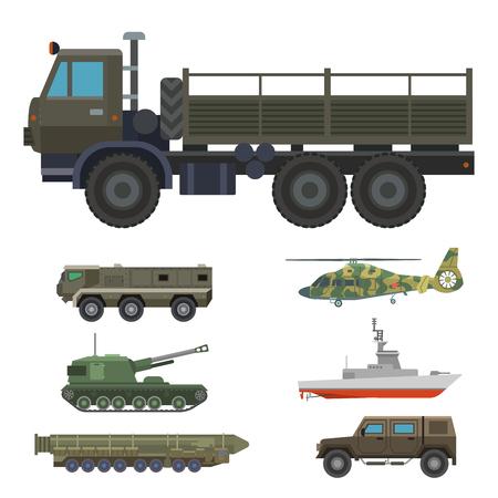 Militair vervoer voertuigtechniek leger oorlog tanks en industrie pantser verdediging transport wapen vectorillustratie.