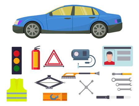 Auto transport vector motorist equipment transportation service car driver tools high detailed repair service illustration. Illustration