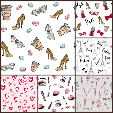 Fashion cosmetics accessories seamless pattern vector colors bright pink stylish fashioned vintage motive pastel illustration.