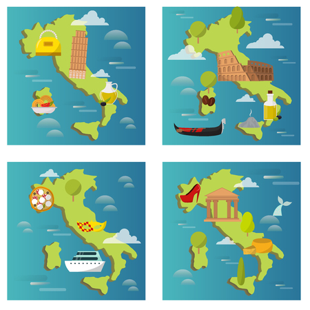 Italy travel map vector attraction tourist symbols sightseeing world italian architecture elements illustration.
