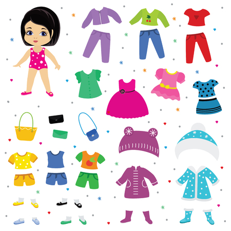 Papierowa lalka wektor ubieranki lub ubranie piękna dziewczyna z modnymi spodniami sukienki lub buty ilustracja dziewczęcy zestaw kobiecych ubrań do cięcia kapelusza lub płaszcza na białym tle