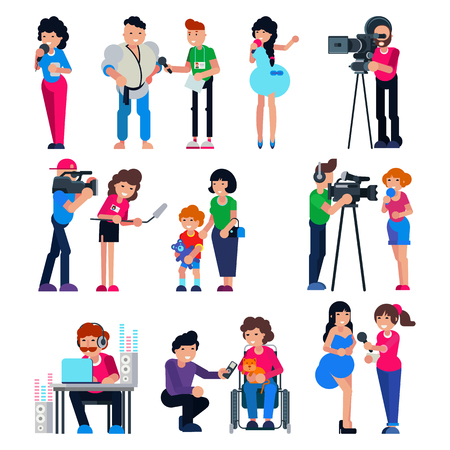 Journalist vector cameraman character and tv reporter broadcasting news or press interview with man or woman illustration set of journalistic people working on television isolated on white background