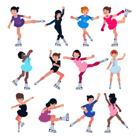 Patinaje artístico vector niña personaje patines en competencia y conjunto de ilustración de patinadora girlie profesional de atleta de niños entrenando o bailando sobre hielo aislado sobre fondo blanco