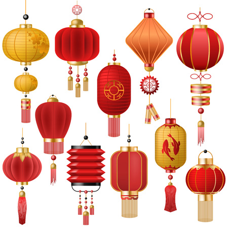 Chinese lantern vector traditional red lantern-light and oriental decoration of china culture for asian celebration illustration set of festival decor light isolated on white background