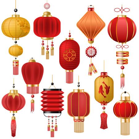 Linterna china vector tradicional linterna roja-luz y decoración oriental de la cultura china para el conjunto de ilustración de celebración asiática de luz de decoración festival aislada sobre fondo blanco Ilustración de vector