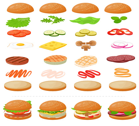 Burger vector fast food hamburger or cheeseburger constructor with ingredients meat bun tomato and cheese illustration fastdood sandwich or beefburger construction set isolated on white background