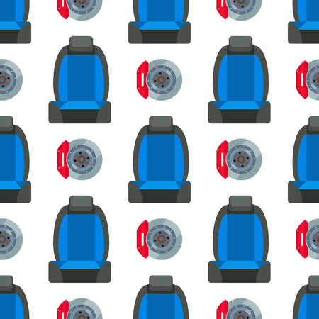 Child car seat seamless pattern background protection security vehicle auto belt transportation vector illustration. Stok Fotoğraf - 102927532