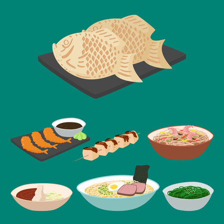 Japan vector food traditional meal cooking culture sushi roll and seafood lunch japanese asian cuisine illustration Illustration