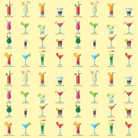 Cocktails alcoolisés seamless fond fruits froid boissons froides vecteur exotique exotique de l & # 39 ; alcool de la piscine . illustration vectorielle de tequila Banque d'images - 103021316