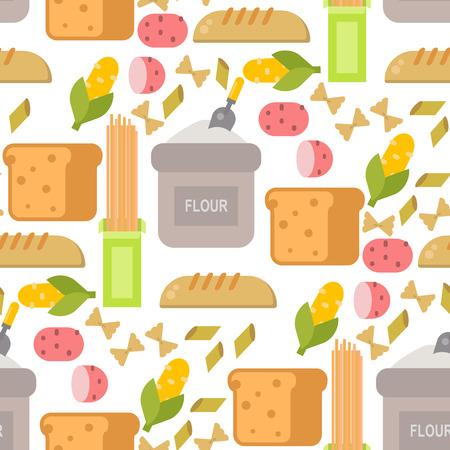 Alimentos de comida comunes productos orgánicos productos primas fondo transparente de diseño en la ilustración vectorial supermercado . Foto de archivo - 103021324