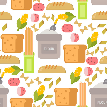 Everyday food common goods organic products seamless pattern background shopping in supermarket vector illustration. Stock Photo