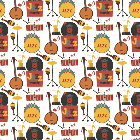 Jazz musical instruments tools background jazzband piano saxophone music seamless pattern sound vector illustration rock concert note. Illustration