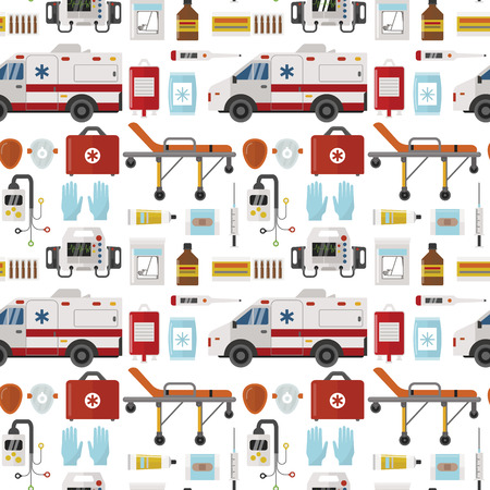 Ambulance vector medicine health emergency hospital urgent pharmacy pill support paramedic treatment seamless pattern background illustration