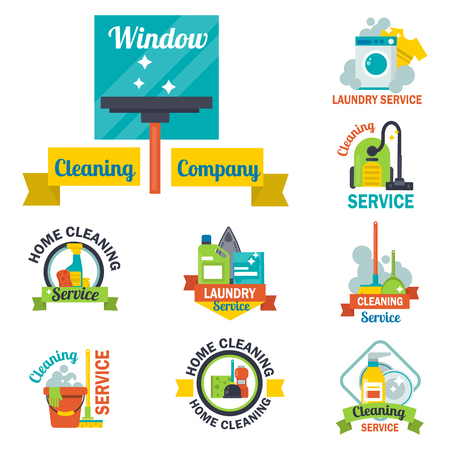 Cleaning service emblems labels design home household symbol work brush vector illustration.