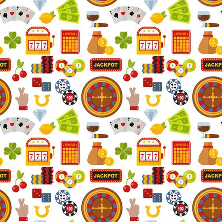 Casino roulette gambler joker slot machine poker game seamless pattern background vector illustration. Stock Vector - 103021343