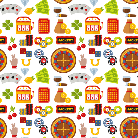 Casino roulette gambler joker slot machine poker game seamless pattern background vector illustration. Illustration
