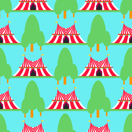 Circus show entertainment tent marquee outdoor festival with stripes flags carnival seamless pattern background vector illustration.