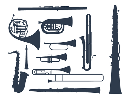Wind musical instruments tools acoustic musician equipment orchestra vector illustration