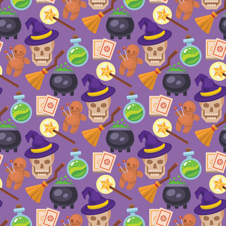 Magic vector tools magician fantasy carnival magical mystery cartoon miracle decoration seamless pattern background illustration.