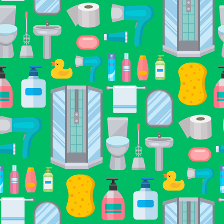 Bath equipment toilet bowl clean bathroom flat style illustration hygiene design seamless pattern background.