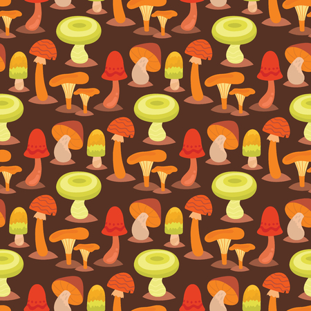 Mushrooms fungus agaric toadstool different art style design fungi vector illustration red hat seamless pattern background