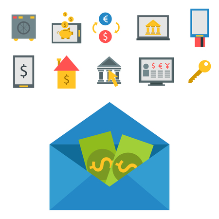 Online payment methods confirmed finance paying mobile banking workplace vector illustration in flat style.