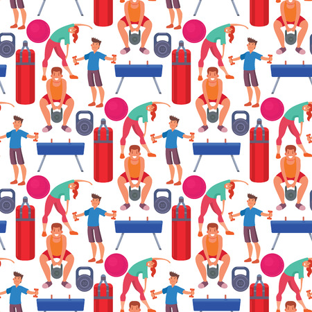 Fitness gym sporty club vector icons athlet and sport activity body tools wellness dumbbell equipment seamless pattern background