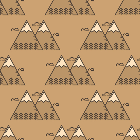 Mountain vector silhouette nature outdoor rocky snow ice top decorative landscape travel climbing hill peak hiking seamless pattern background illustration Banque d'images - 103056611
