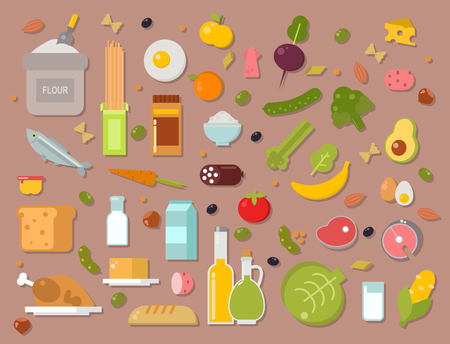 Everyday food common goods organic products we get by shopping in supermarket vector illustration. Иллюстрация