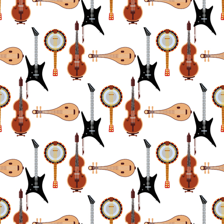 Seamless pattern background stringed musical instruments sound tool and acoustic symphony stringed fiddle equipment vector illustration. Vintage performance classic folk rock artistic sign. Ilustrace