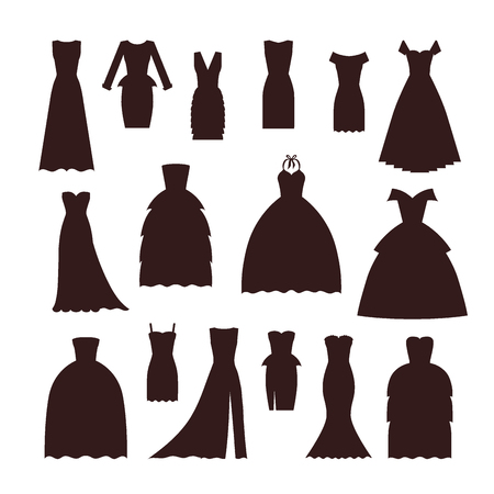 Wedding bride dress elegance silhouette style celebration vector illustration. Fashion bride design made in modern accessories silhouette. Holiday vector bridal shower composition.