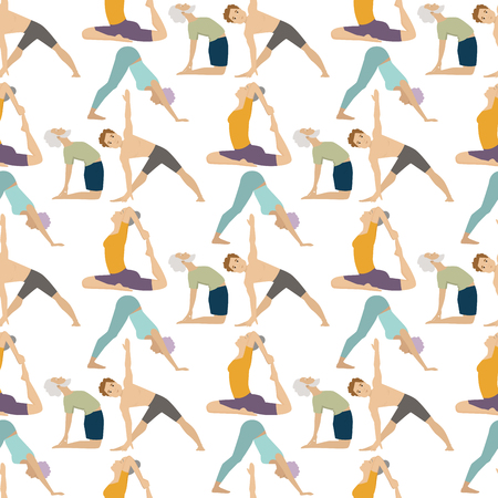 Yoga positions people characters class vector illustration. Meditation male concentration human peace sport. Lifestyle relaxation health exercise seamless pattern background.