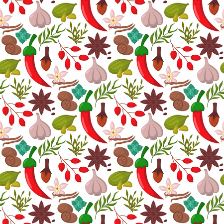 Spices condiments seamless pattern backgroun seasoning food herbs decorative healthy organic relish flavouring vegetable vector illustration.